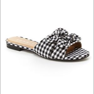 Esprit Black / White Gingham Kenya Slides Size 6